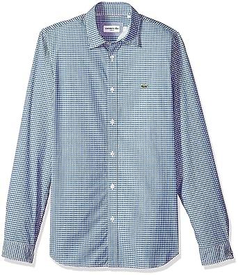 382863cb Lacoste Men's Long Sleeve Mini Check Poplin Button Down Slim Woven ...