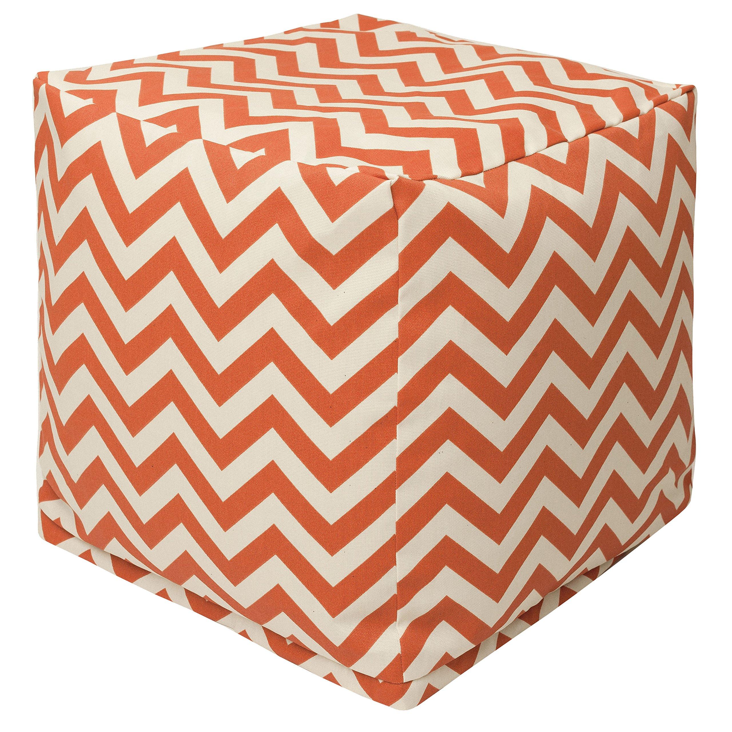 Majestic Home Goods Burnt Orange Chevron Indoor/Outdoor Bean Bag Ottoman Pouf Cube 17'' L x 17'' W x 17'' H