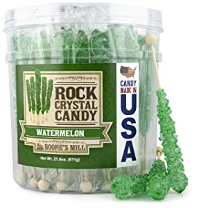 Boone's Mill | Rock Crystal Candy Sticks | Green Watermelon | 36 Sticks