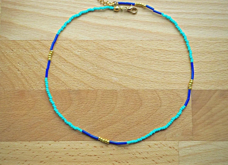 Blue gold & teal beaded choker - Choker necklace - Dainty choker - Delicate choker - Boho choker - Turquoise blue gold - Seed bead choker - Bohemian choker