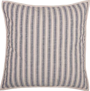 """Piper Classics Market Place Blue Ticking Stripe Quilted Euro Sham, 26"""" x 26"""", Farmhouse Style Bedding in Blue & Natural Cream"""