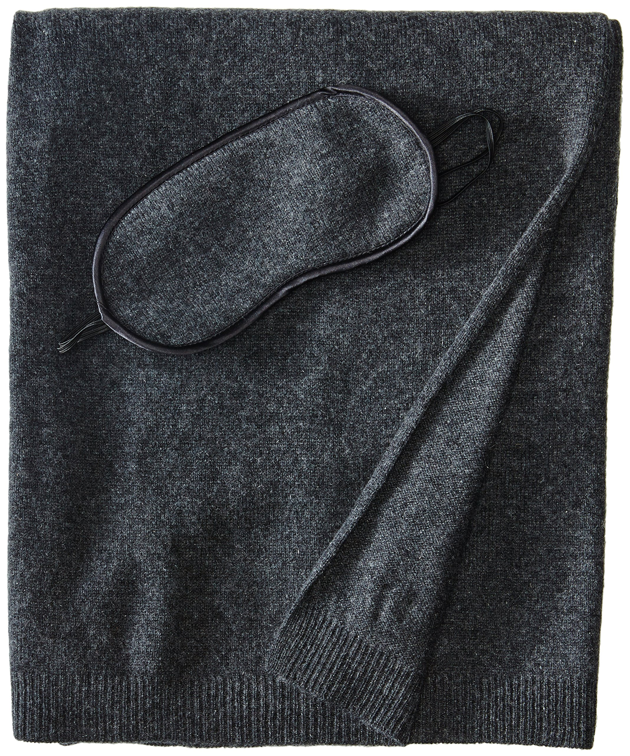 Sofia Cashmere 100% Cashmere Cozy Travel Set with Blanket, Eye Mask, and Bag, Charcoal, One Size