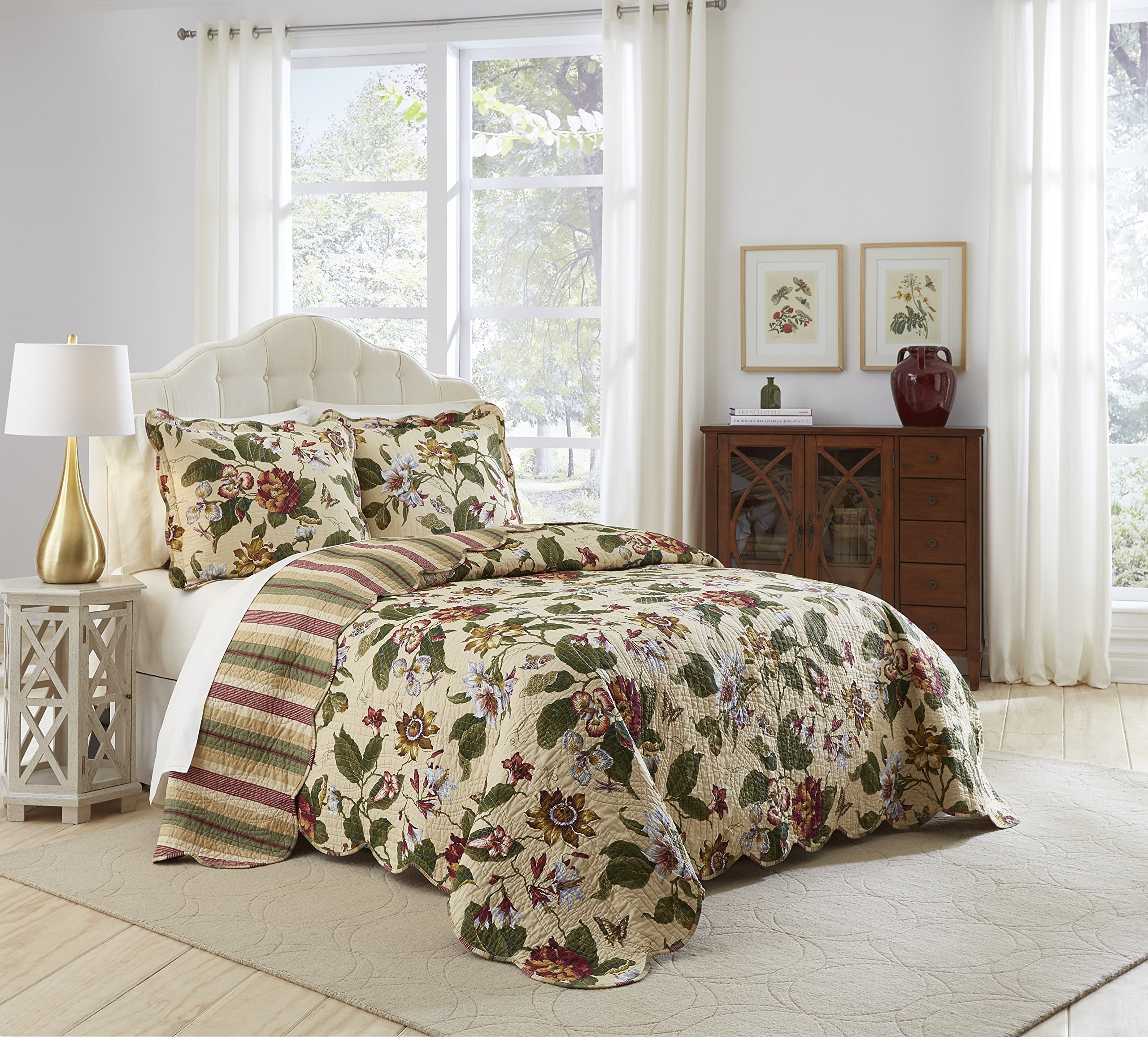 Waverly Laurel Springs Bedspread Collection, 96x110, Parchment