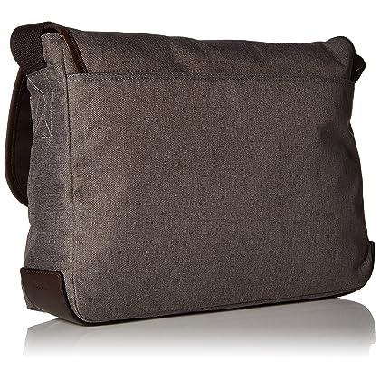 5f4a2a670bf ... Fossil Men s Buckner Leather Trim Messenger Bag, Grey Dark Brown, ...