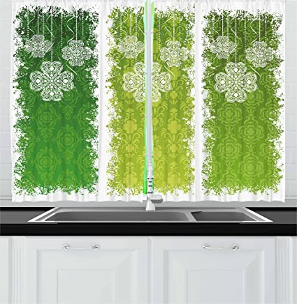 Amazon.com: Ambesonne Irish Kitchen Curtains, Aged Vintage ...