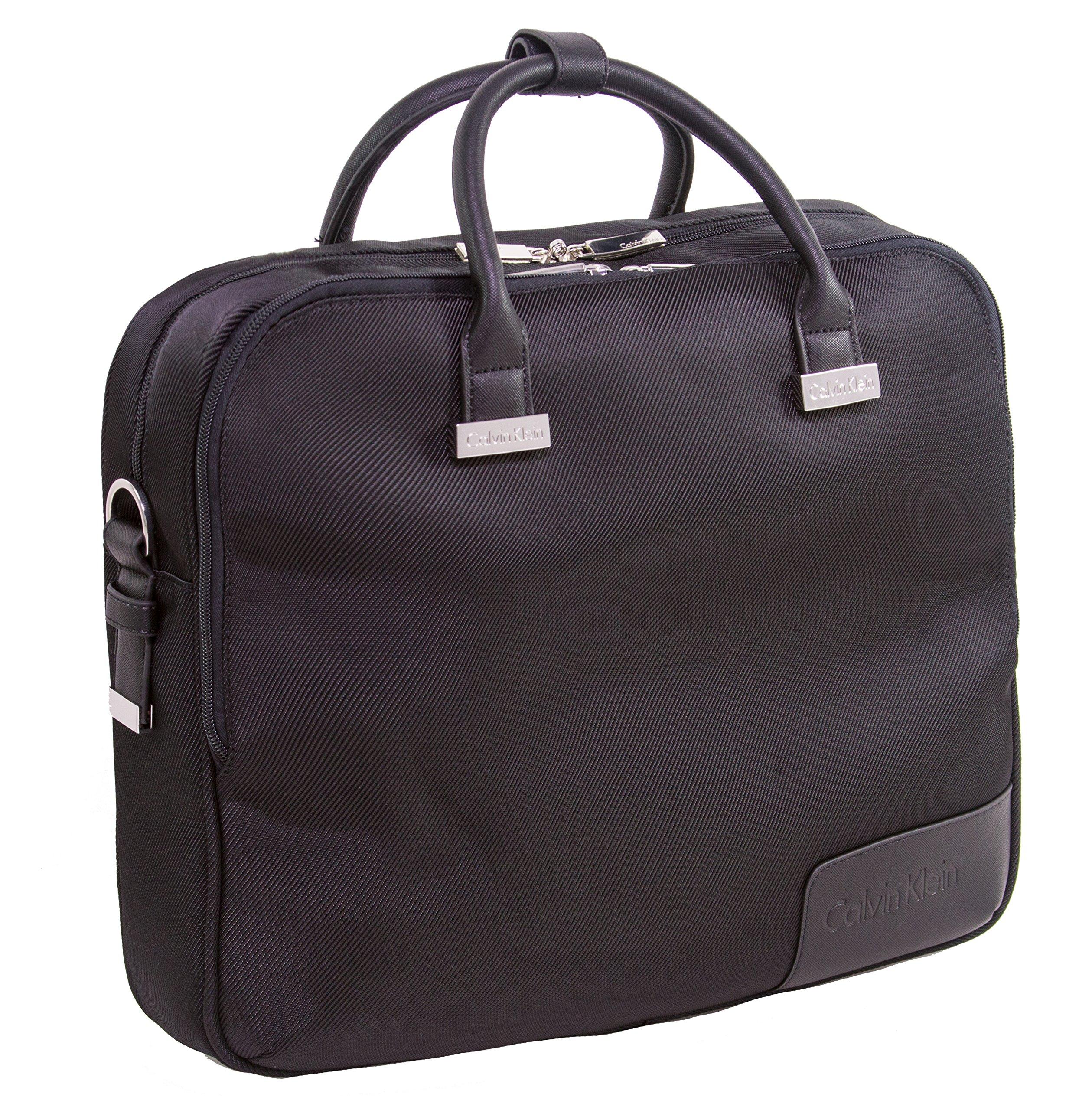 Calvin Klein Dylan Case Laptop Briefcase, Black, One Size