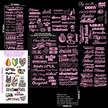 Jdm ultra mega bulk wholesale pink sticker decal pack lot of 144 vinyl decal stickers