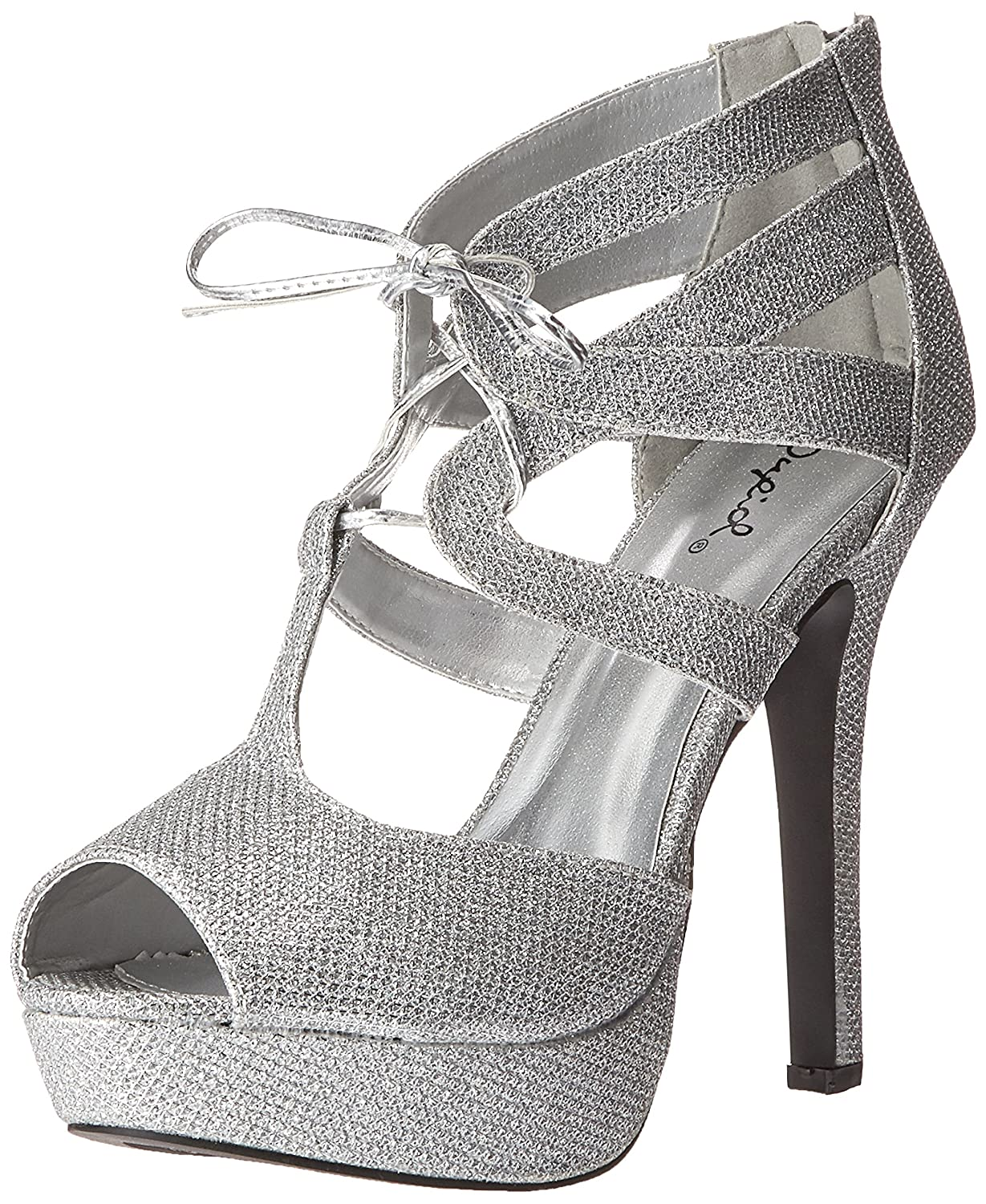 Qupid Women's Gaze-450 Platform Dress Sandal B01BV1MPBI 10 B(M) US|Silver