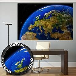 GREAT ART Europa am Tag Ausblick aus dem Weltall Wanddekoration - Wandbild Kontinent Motiv XXL Poster (140 x 100 cm)
