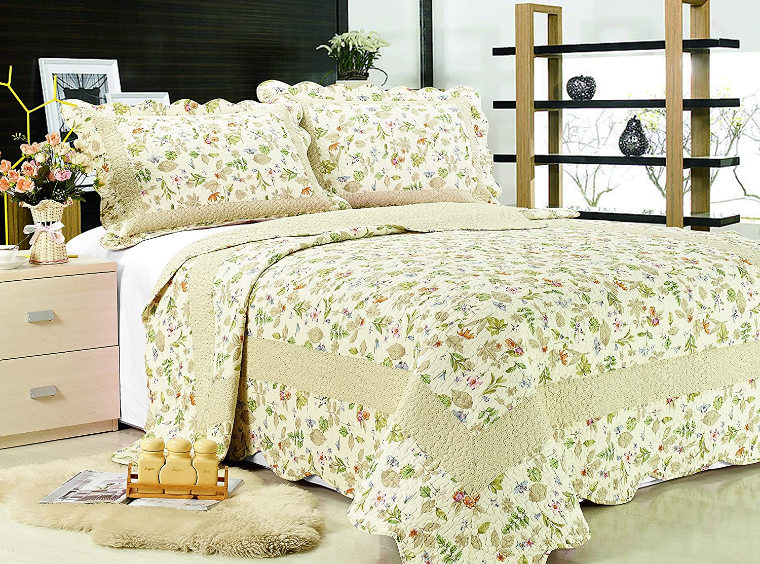 3-piece Reversible Bedspread/ Coverlet / Quilt Set-orange, pink, purple, blue flowers and sage green