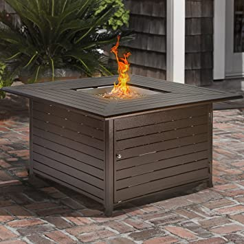 amazon com barton fire pit square table lp propane gas with