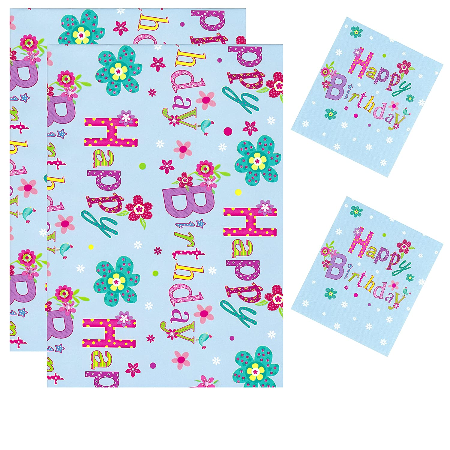 2 Sheets Gift Wrapping Paper With 2 Tags 50cm x 70cm Bestest Happy Birthday D26