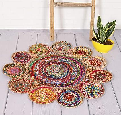 HANDCIRAFT-Palace Multi Round Jute Rug Braided Floor Mat Door Mats Area Rug Carpet Handmade Jute Rug (Multicolor)