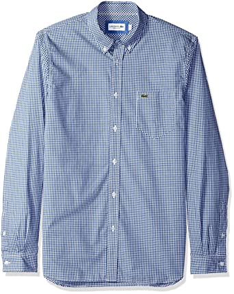 98298bb4a0a7c5 Lacoste Men s Long Sleeve Reg Fit Gingham Poplin Button Down at ...