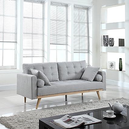 Mid-Century Modern Tufted Linen Fabric Sofa (Light Grey)
