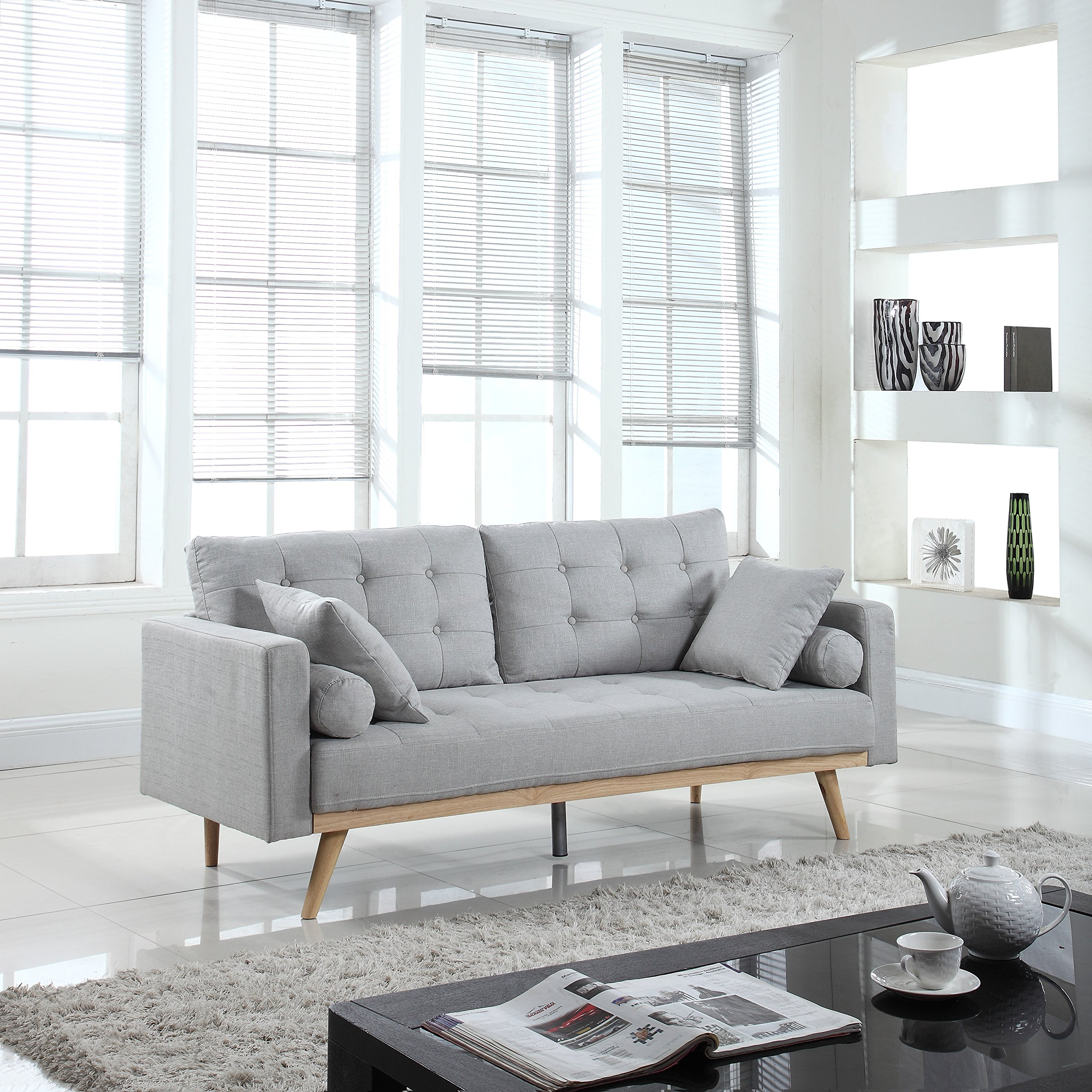 Mid Century Modern Tufted Linen Fabric Sofa Light Grey