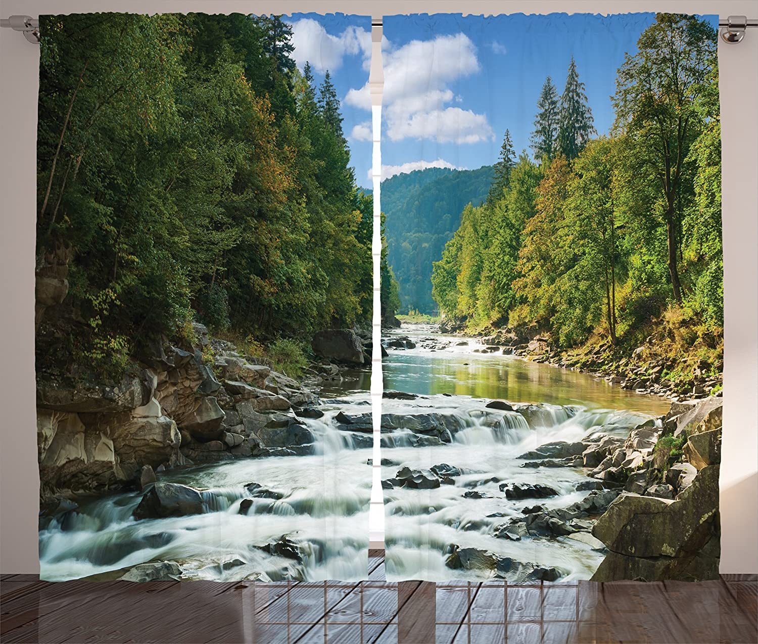 Amazon Com Lunarable Nature Curtains Mountain River Along Forest Waterfall Rocks Stream Travel Destination Living Room Bedroom Window Drapes 2 Panel Set 108 X 96 Sky Blue Forest Green Home Kitchen