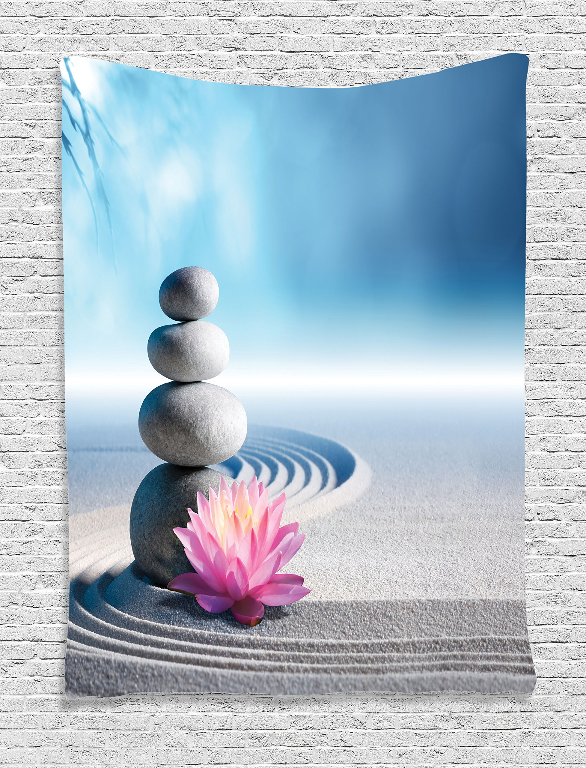 Ambesonne Spa Decor Tapestry, Stones and Lotus Flower Over Sand Meditation Harmony Balance Flourish Your Spirit Theme, Bedroom Living Room Dorm Decor, 40 W x 60 L inches, Grey Blue Pink