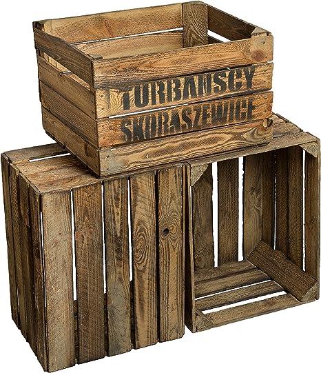 Cajas de fruta de madera, estilo rústico, 3 unidades49 x 42 x 31 ...