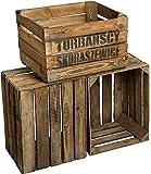 Altes Land TS Lot de 3caisses massives en bois passé à la flamme Env. 49x 42x 31cm caisses à pommes casiers à vin