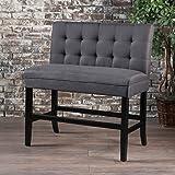 GDF Studio 300883 Paddy Tufted Back Fabric Barstool Bench (Dark Charcoal
