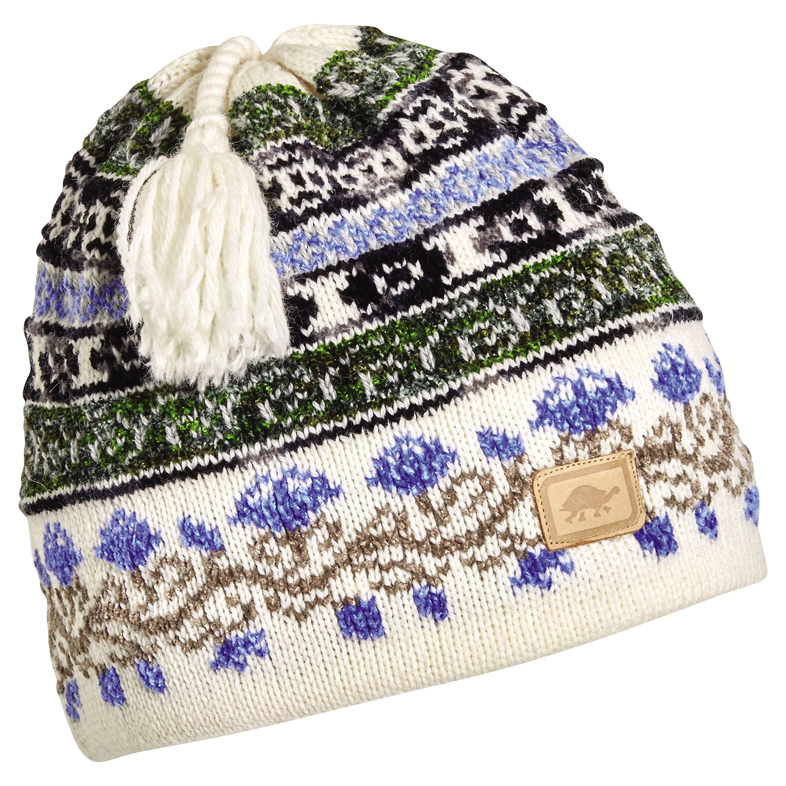 Turtle Fur Women's Lady Fairisle, Classic Wool Ski Tassel Hat, White