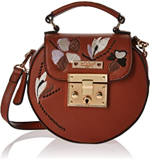 Nikky Round Embriodered Floral Design Brown Women Crossbody Cross Body Bag, One Size