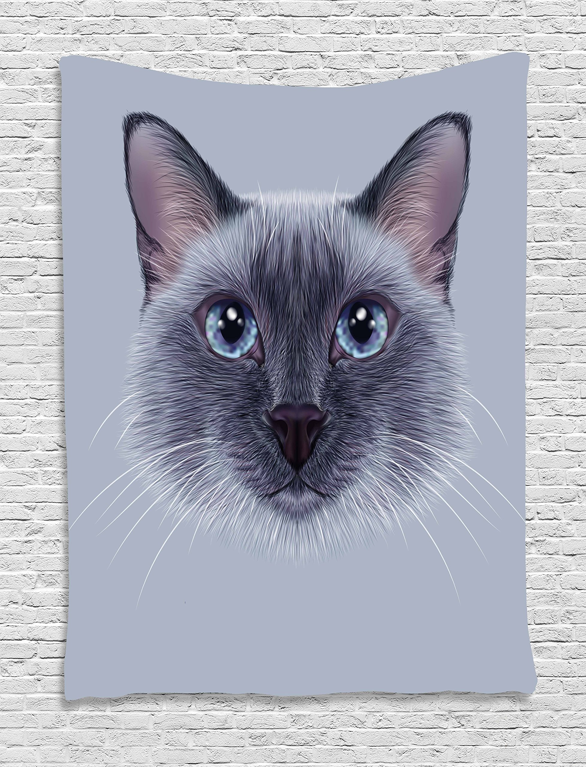 Ambesonne Animal Tapestry, Portrait Image of Thai Siamese Cat with Retro Style Lettering Artwork, Wall Hanging for Bedroom Living Room Dorm, 40 W x 60 L Inches, White Sky Blue and Grey