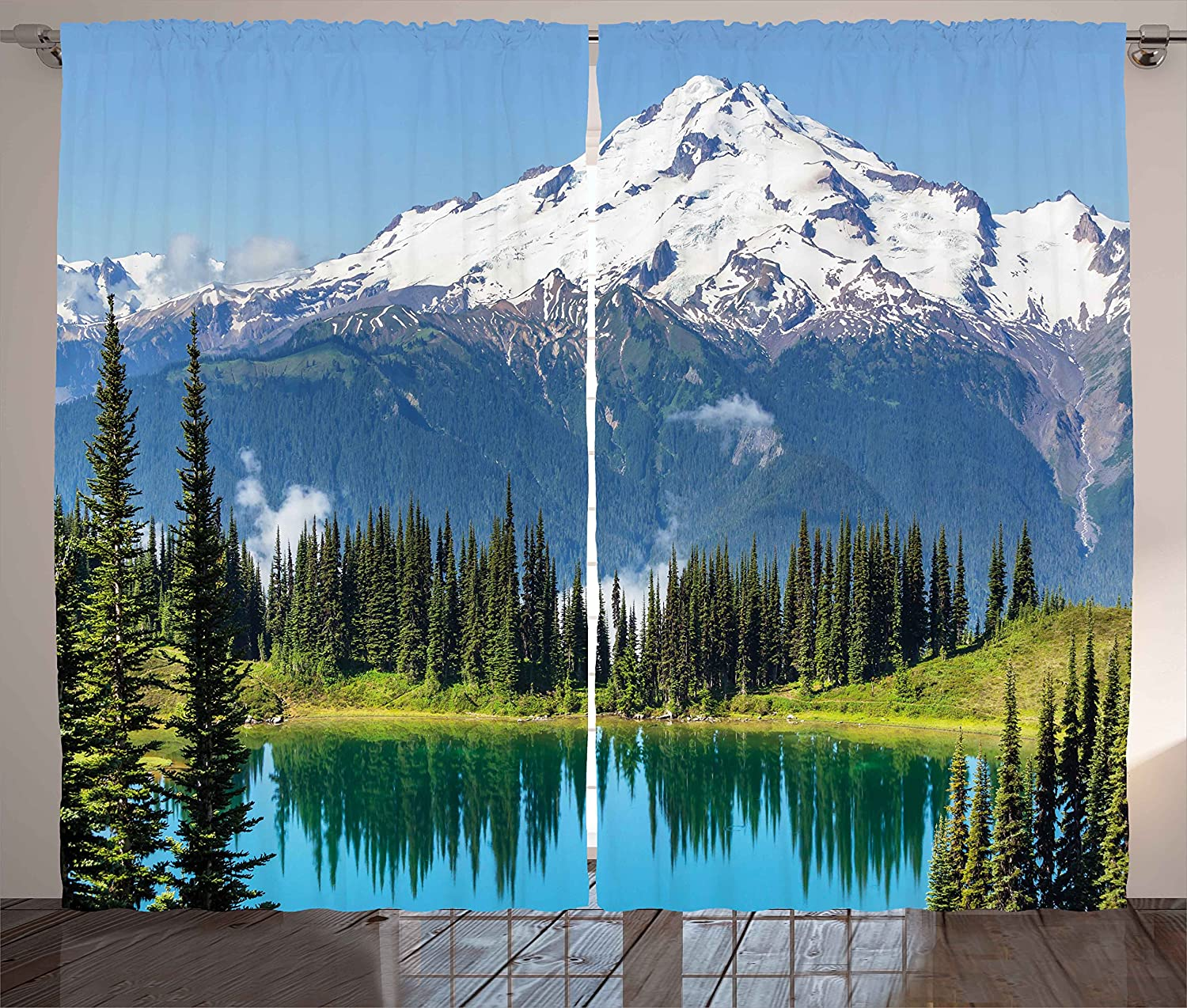 Ambesonne Nature Curtains, Idyllic Crystal Lake Surrounded by Pine Trees and Snowy Mountain Landscape, Living Room Bedroom Window Drapes 2 Panel Set, 108