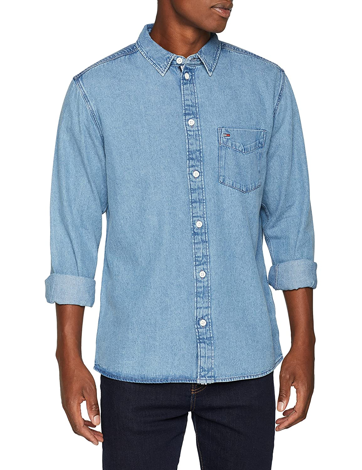 Tommy Jeans Hombre Clean Camisa vaquera Manga Larga Normal