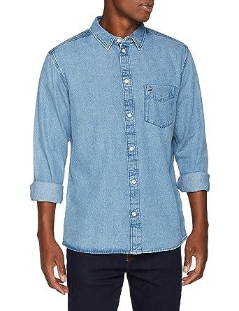 dce5043d Tommy Jeans Men's Clean Classic Regular Fit Denim Shirt, Blue (Mid Indigo  412)