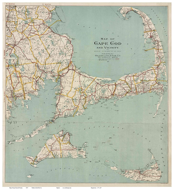 Cape Cod Florida Map.Amazon Com Cape Cod And The Islands 1917 Walker Local Road