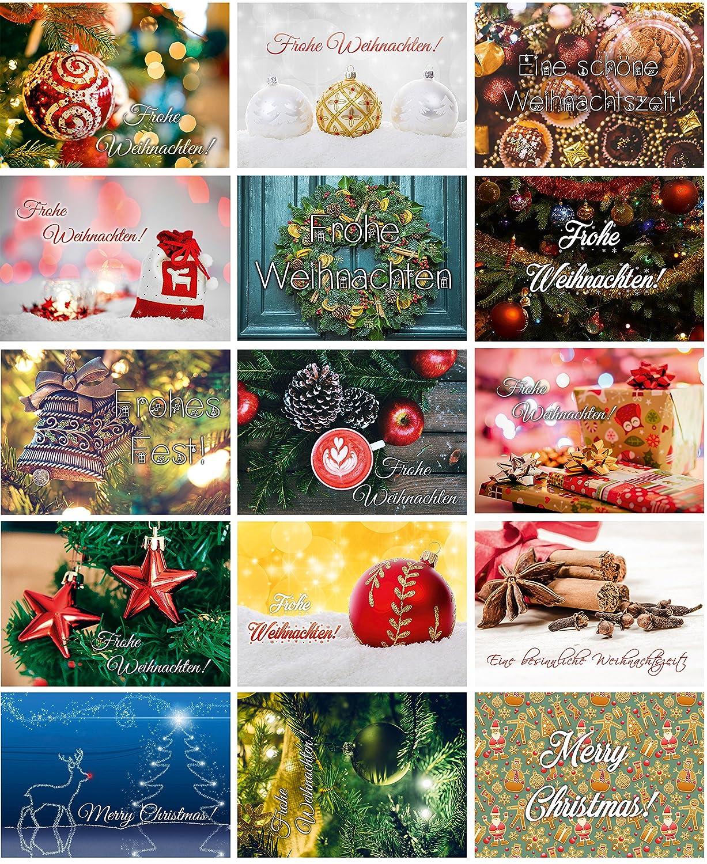Set di cartoline natalizie con 15 bellissimi motivi, ideali per amici o colleghi, carta 350 g lucida laccata UV, immagini stampate di massima qualità Sophies Kartenwelt