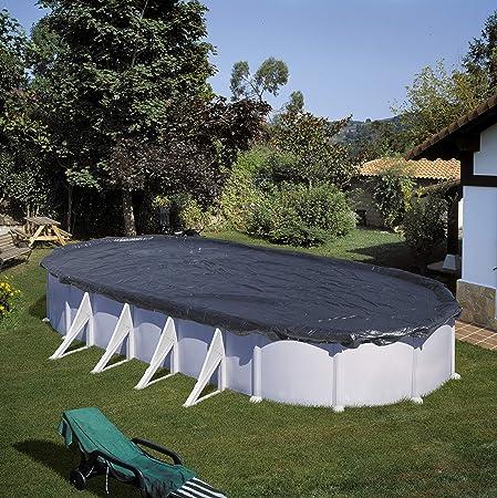 Gre CIPROV731 - Cubierta de Invierno para Piscina Ovalada o en Forma de Ocho de 730 x 375 cm, Color Negro