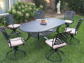 Outdoor Cast Aluminum Patio Furniture 7 Piece Dining Set KL208110T With 6  Swivel Rockers CBM1290