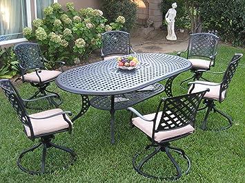 Outdoor Cast Aluminum Patio Furniture 7 Piece Dining Set KL208110T With 6  Swivel Rockers CBM1290