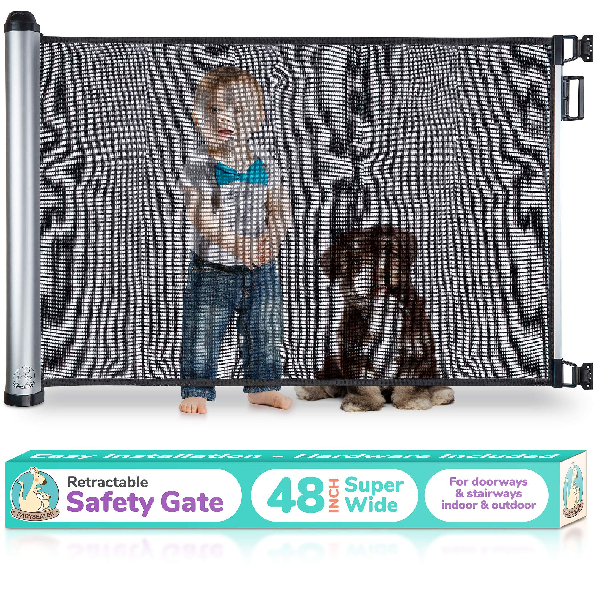 2019 New Retractable Baby Gate - Extra Wide Baby Safety Gate and Pet Gate for Stairs, Doors, and More - Mesh Baby Gate with Easy Latch and Flexible Design Fits Most Spaces by BABYSEATER