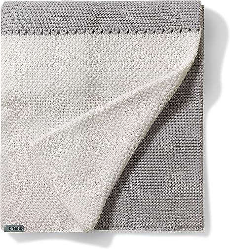 Kit & Kin Manta de punto para bebés naturalmente suave tejido de algodón orgánico diseño unisex (gris/blanco): Amazon.es: Bebé