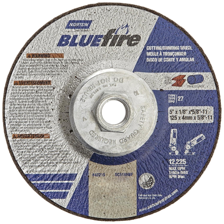 Norton Blue Fire Plus Depressed Center Abrasive Wheel, Type 27, Zirconia Alumina and Aluminum Oxide, 5/8'-11 Hub, 5' Diameter x 1/8' Thickness  (Pack of 10) 5/8-11 Hub 5 Diameter x 1/8 Thickness  (Pack of 10) St. Gobain Abrasives 66252843215