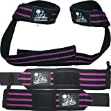 Wrist Wraps + Lifting Straps Bundle (2 Pairs) for Weightlifting, Cross Training, Workout, Gym, Powerlifting…