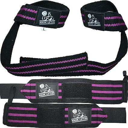 Paquete de muñequeras y correas (2 pares) para levantamiento de pesas, crossfit, entrenamientos, gimnasio, levantamiento de ...