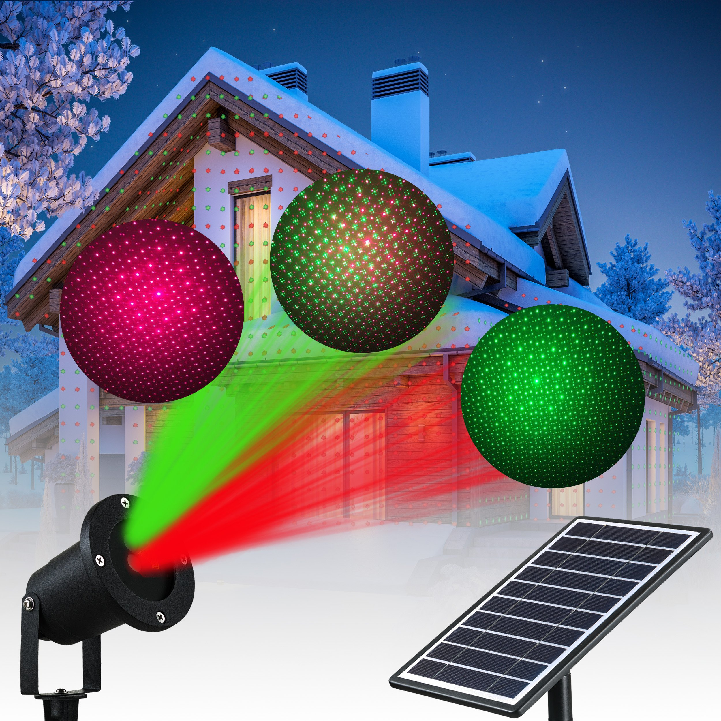 Solario Solar Powered Laser Light Projector w/All-Metal Aluminum Design | Extra-Bright LED Stake Lights | 100% Weather Resistant Outdoor Christmas Lights (Red & Green) (3 Patterns) by Solario (Image #1)
