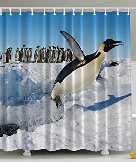 Penguins Noth Pole Wildlife Shower Curtain Swimming Flying Dancing Penguin  Family Group Icebergs Antarctica Arctic Bird