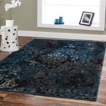 Premium Contemporary Rugs For Living Room Luxury 5x8 Navy Blue Brown Beige  Black Flower Abstract Area Part 40