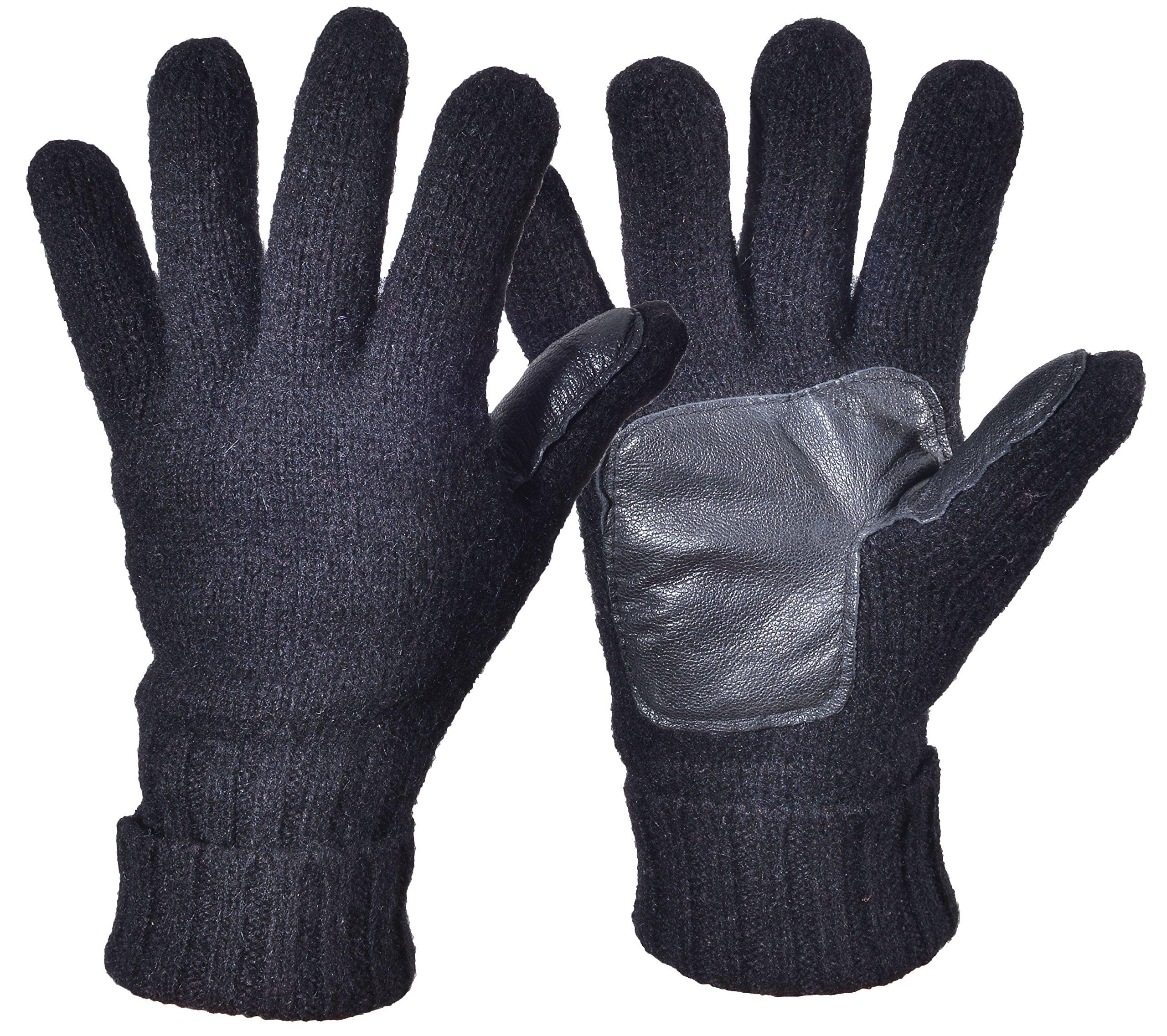 Woogwin Men's Winter Wool Knit Gloves Thick Fleece Lined Warm Non Slip Gloves (Black)