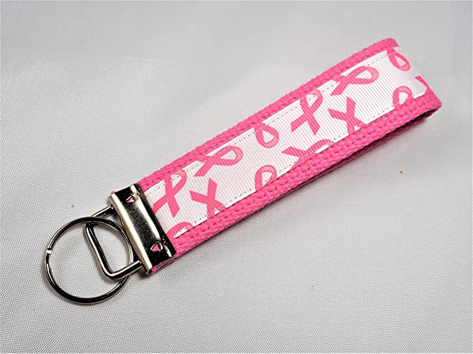 Key Fob Keychain >> Amazon Com Breast Cancer Awareness Ribbon Wristlet Key Fob Keychain
