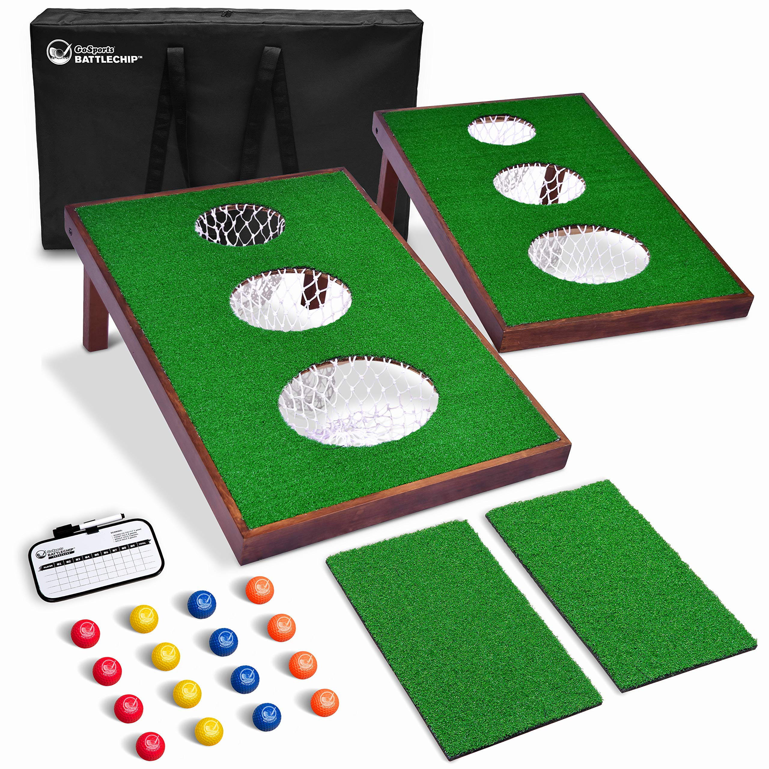 GoSports BattleChip Versus Golf Game | Includes Two 3' x 2' Targets, 16 Foam Balls, 2 Hitting Mats, Scorecard and Carrying Case by GoSports