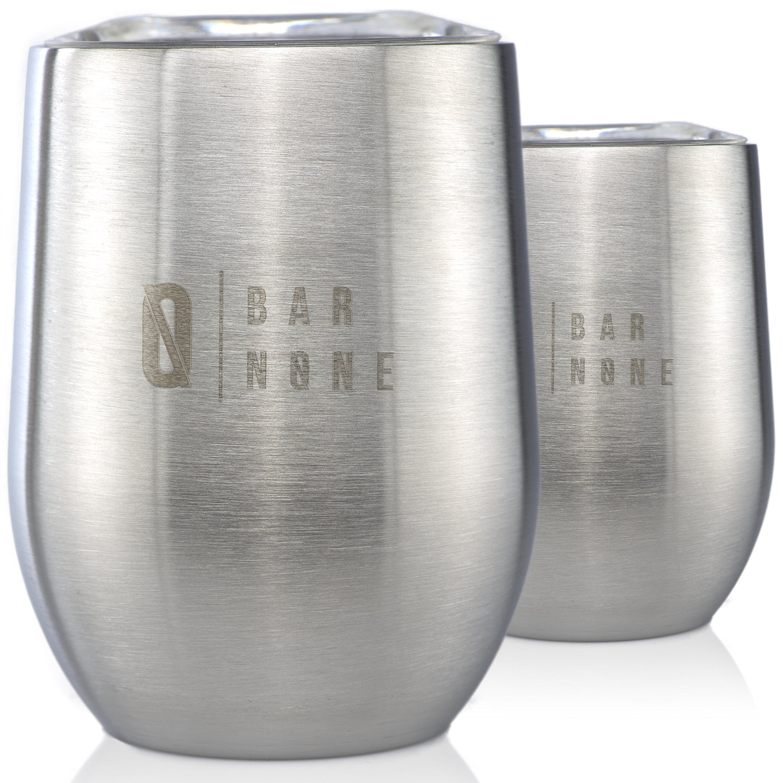 Bar None Wumbler 12 Oz Set of 2 - Exquisite Quality Stainless Steel Wine Glasses Tumbler Vacuum Insulated Double-Walled Stainless Steel Tumblers Shatterproof Stemless Wine Cups Mugs