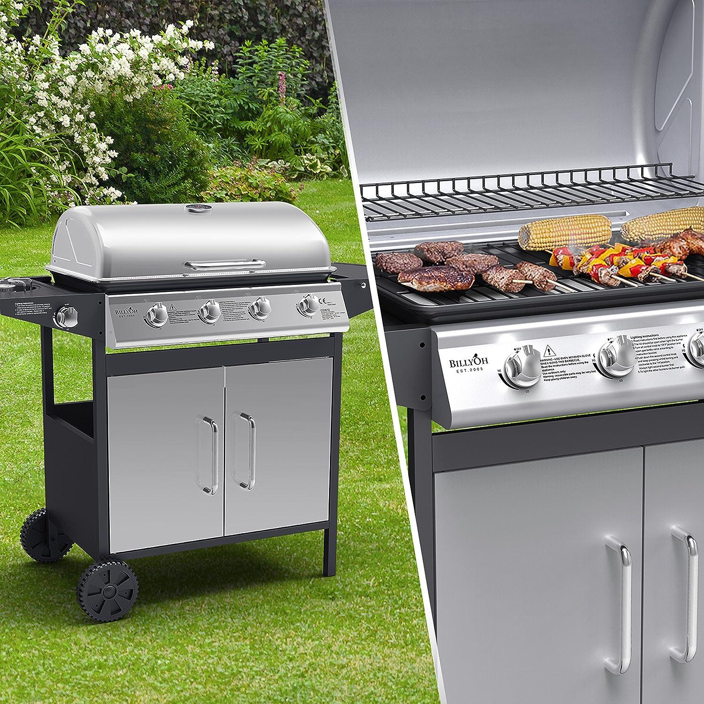 Festnight 4 1 Gas Barbecue Grill 4 Burner Garden Grill with Slide Burner and Storage