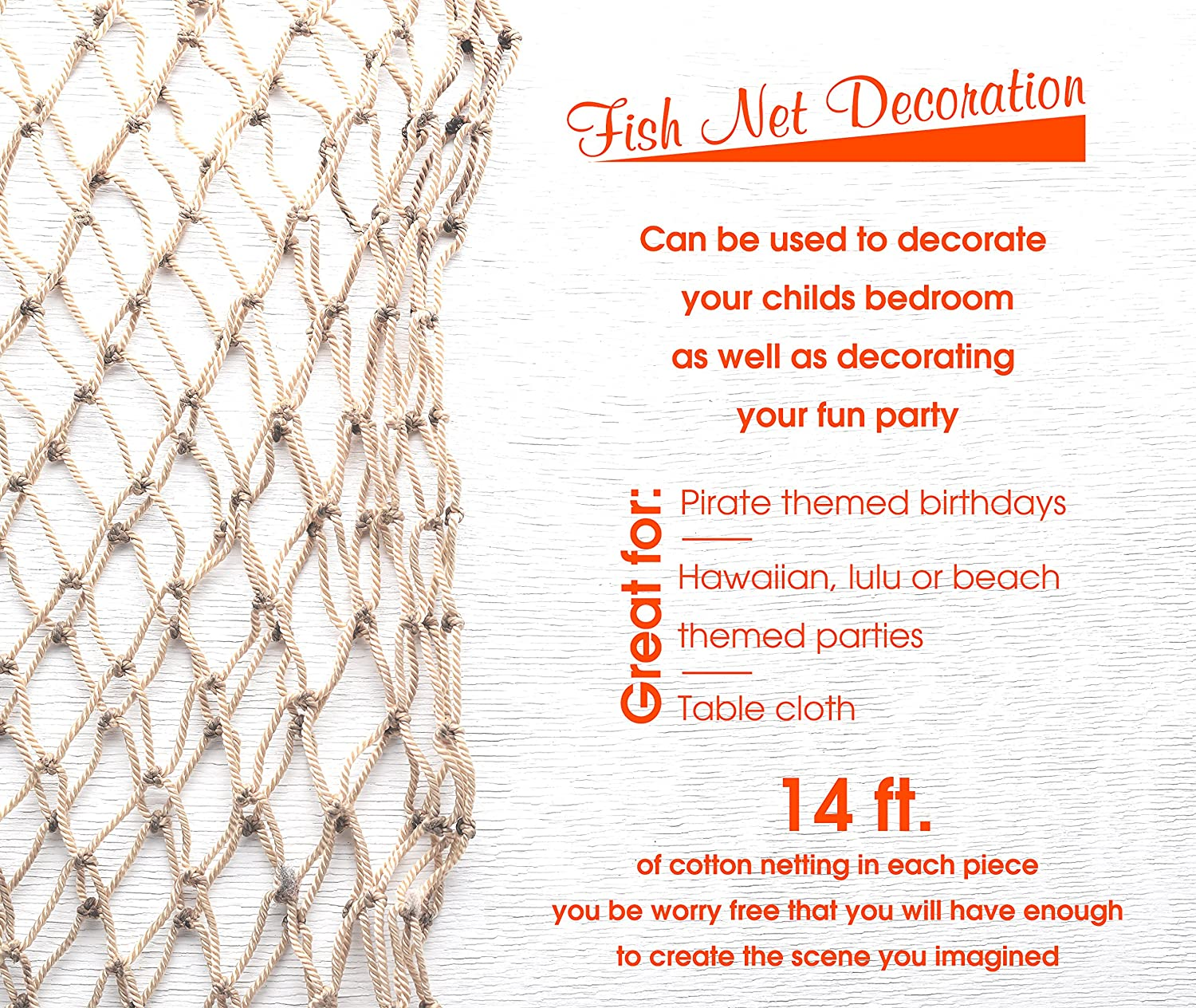 0e4dc69588e76 Amazon.com: Natural Fish Net Party Decorations for Pirate Party, Hawaiian  Party, Nautical Themed Cotton Fishnet Party Accessory by Big Mo's Toys:  Health ...